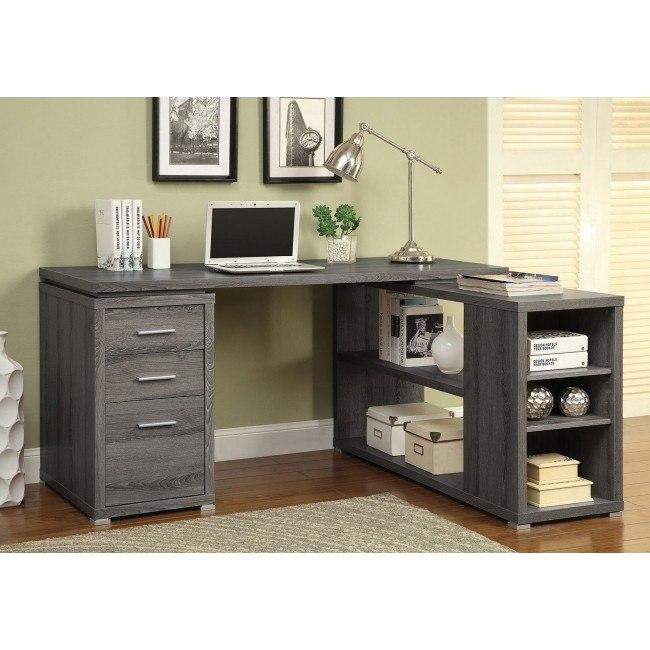 Yvette L-Shape Office Desk (Weathered Grey)