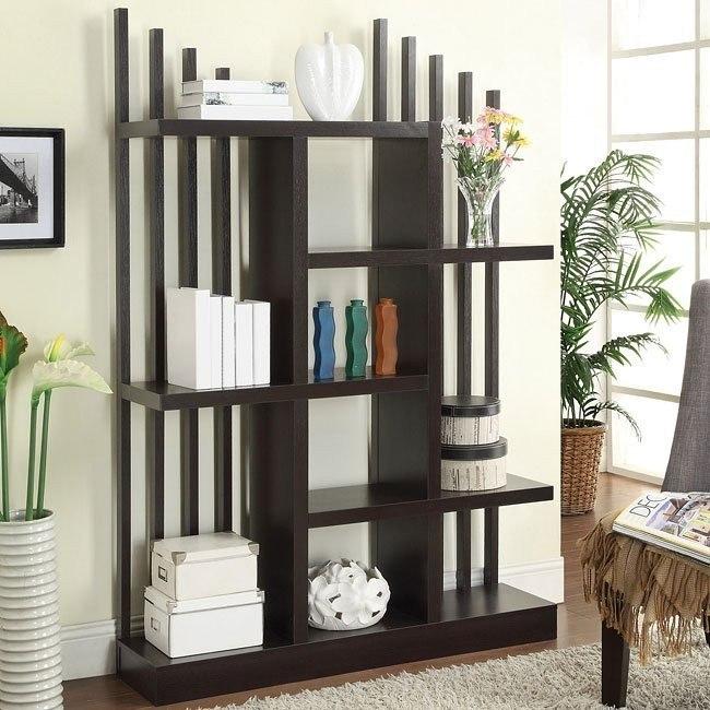 Open Bookshelf w/ Staggered Shelves and Slats