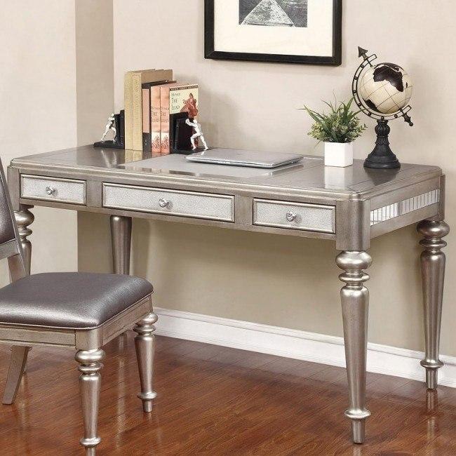 Metallic Platinum Writing Desk