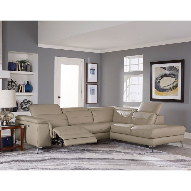 Groovy Cinque 2 Piece Leather Sectional W Power Recliner Taupe Theyellowbook Wood Chair Design Ideas Theyellowbookinfo