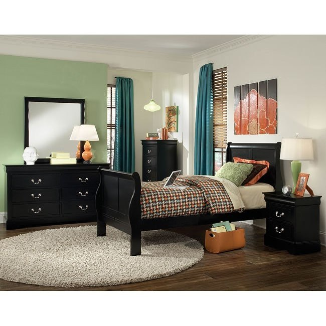 Lewiston Youth Sleigh Bedroom Set (Black) by Standard Furniture ...
