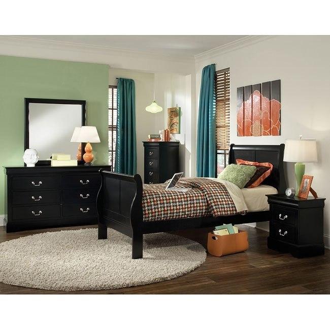 Lewiston Youth Sleigh Bedroom Set (Black)