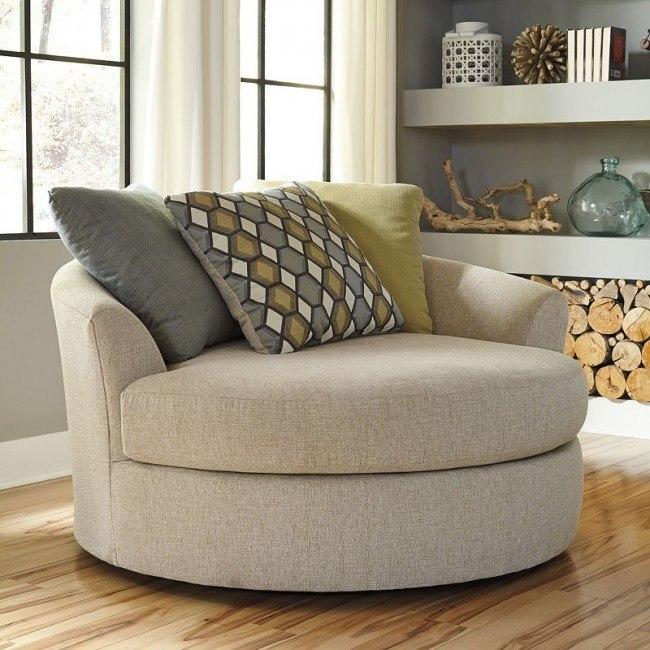 Casheral Linen Oversized Swivel Accent Chair By Benchcraft