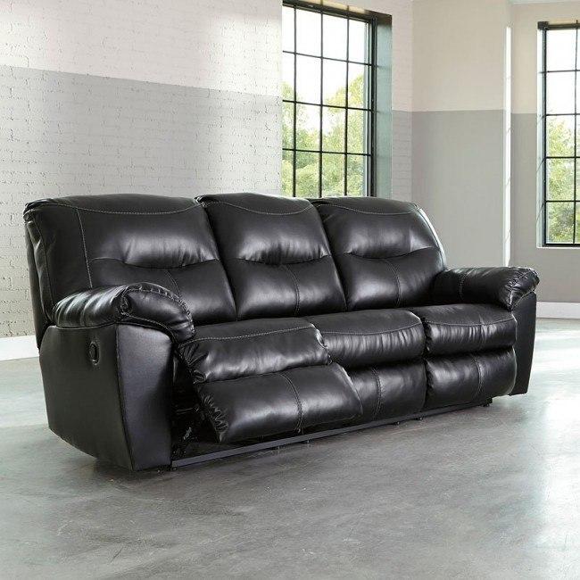 Kilzer Black DuraBlend Reclining Sofa