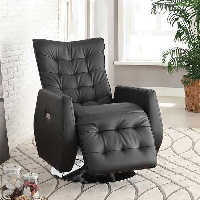Nadra Swivel Recliner w/ Power (Black)