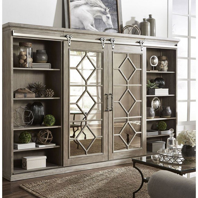 Mirrored Reflections Entertainment Center w/ Piers