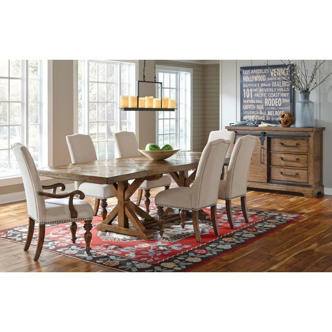 American Attitude Cross Hatch Saw Horse Dining Set w/ Upholstered Chairs