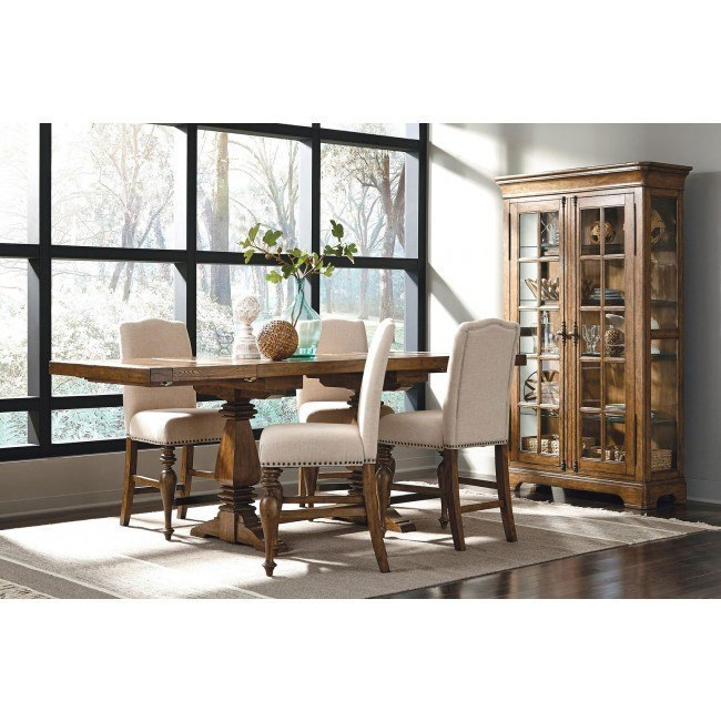 American Attitude X-Pattern Counter Dining Set w/ Upholstered Chairs