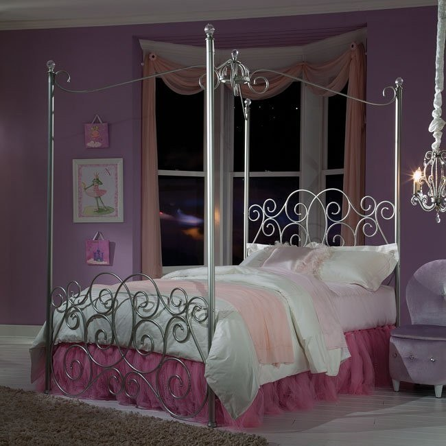 Princess Canopy Bed (Silver)