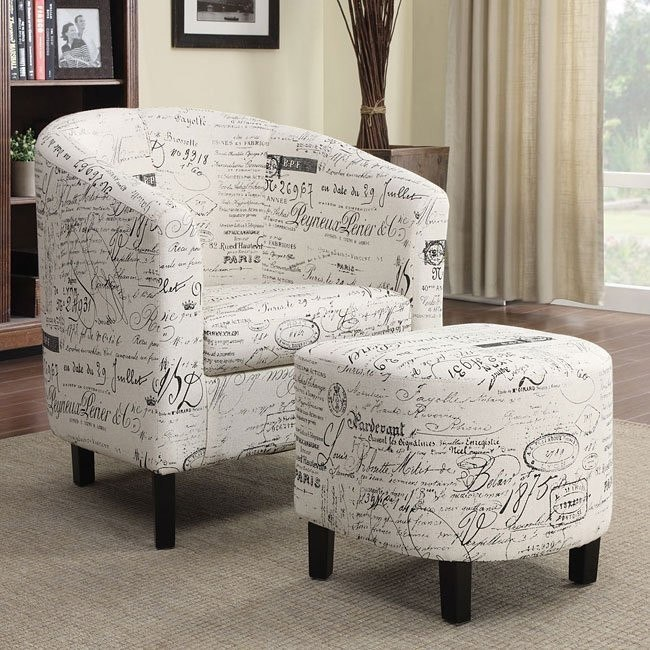 Incroyable French Script Pattern Accent Chair W/ Ottoman