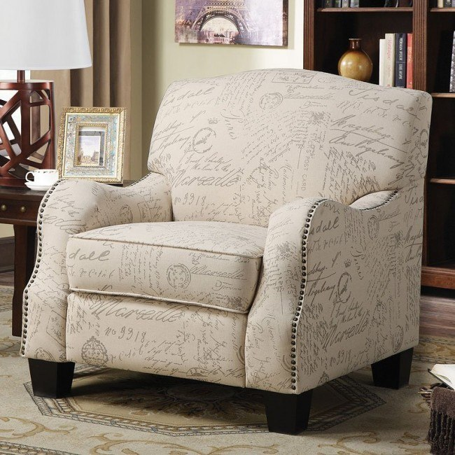 Cream Accent Chair W French Script Print By Coaster