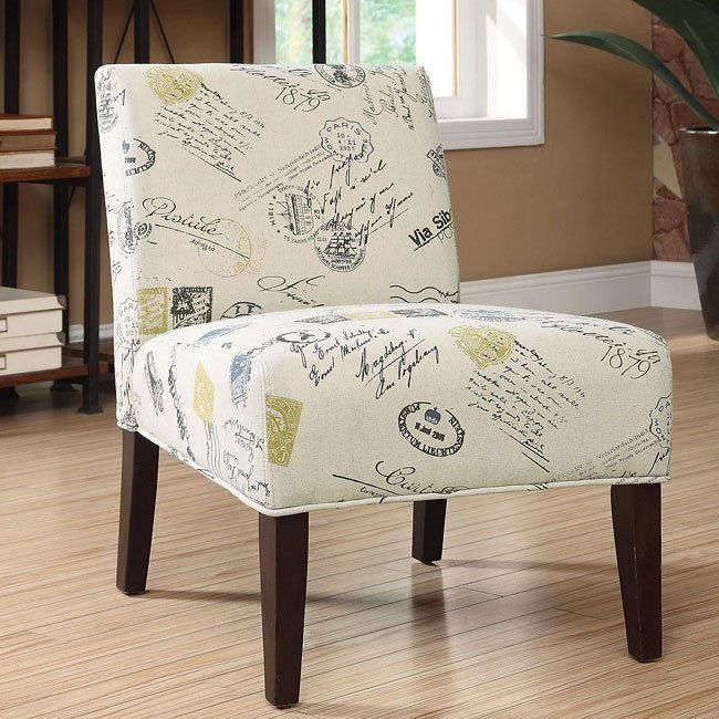 Signature and Stamp Pattern Accent Chair