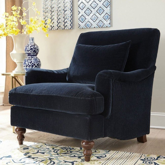 Midnight Blue Attached Back Accent Chair