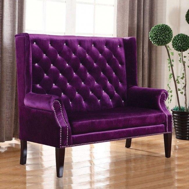 Glam Purple Velvet Settee