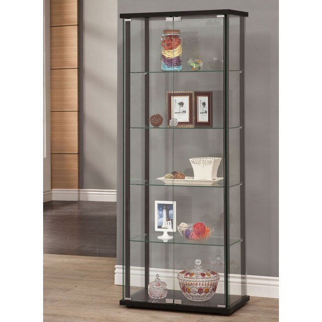 Black Curio Cabinet w/ 5 Shelves