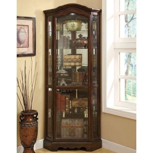 Brown Corner Curio Cabinet