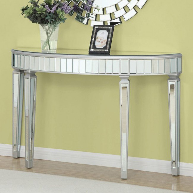 Half Oval Mirrored Console Table