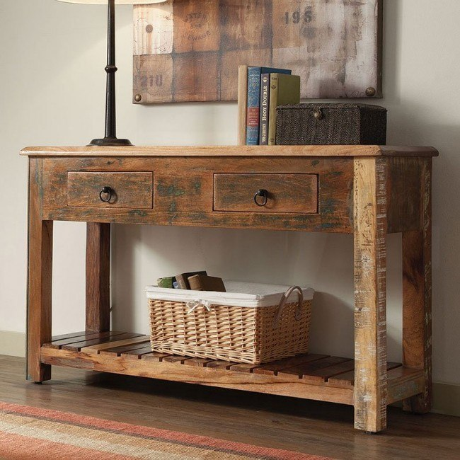 Reclaimed Wood Rustic Console Table