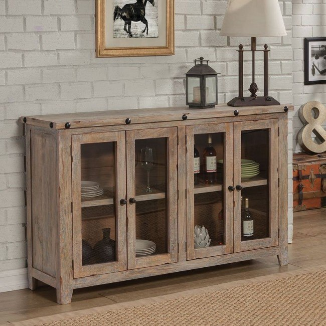 Solid Pine Accent Cabinet W 4 Doors By Coaster Furniture