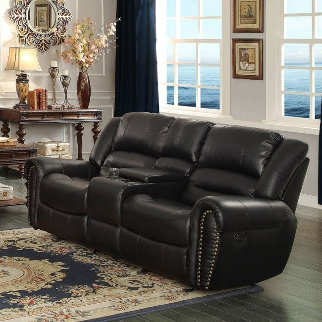 Center Hill Power Double Reclining Loveseat (Black)