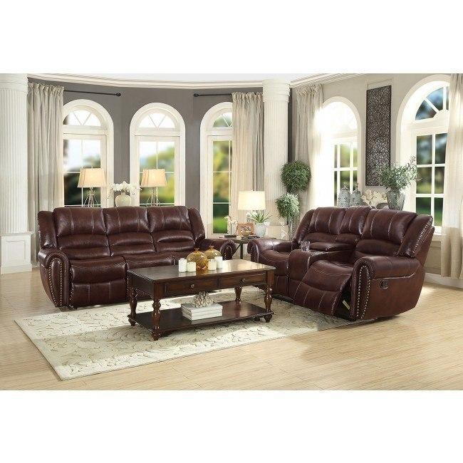 Center Hill Reclining Living Room Set (Dark Brown Leather Gel)
