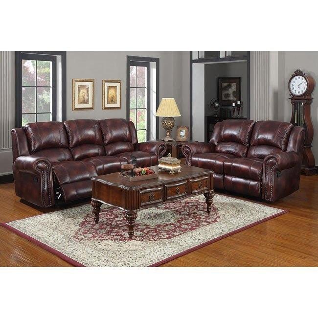 Quinn Reclining Living Room Set (Burgundy Microfiber) By