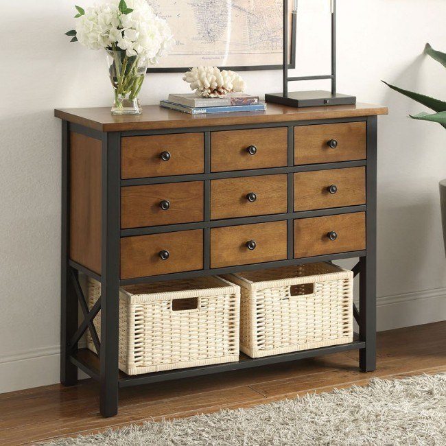 Fidella Console Table w/ Nine Drawers and Two Baskets