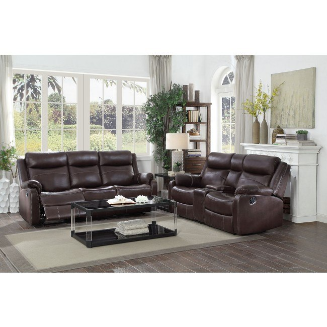 Yerba Lay Flat Reclining Living Room Set (Dark Brown) By