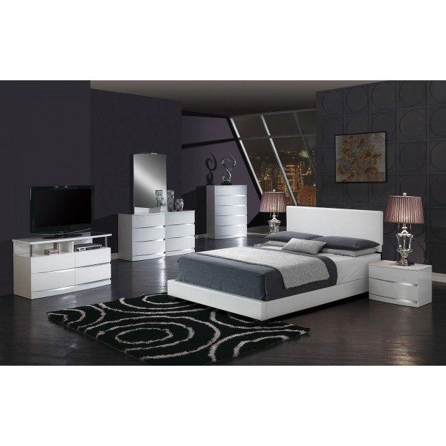 Aurora Bedroom Set w/ White Upholstered Bed