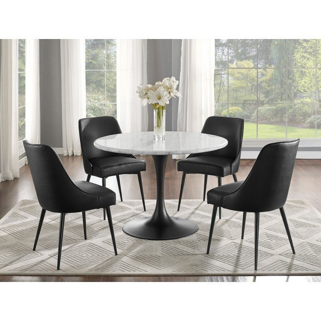 Fantastic Colfax Dining Room Set White Black Caraccident5 Cool Chair Designs And Ideas Caraccident5Info