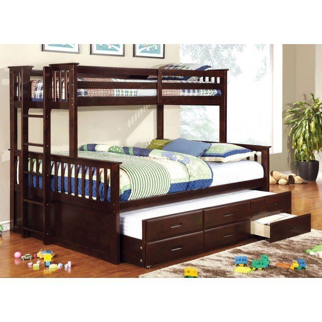 Omnus Youth Bedroom Set w/ University Bunk Bed (Dark Walnut)