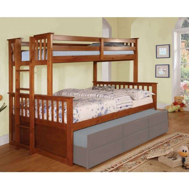 University Twin Over Queen Bunk Bed Oak By Furniture Of America