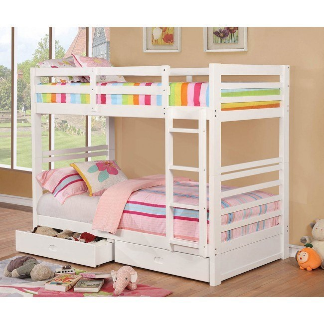 California IV Bunk Bedroom Set (White)
