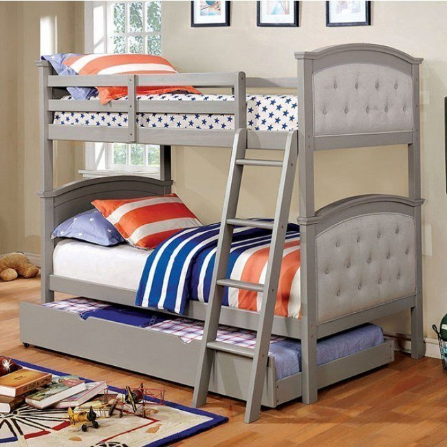 Freda Twin over Twin Bunk Bed w/ Trundle (Gray)