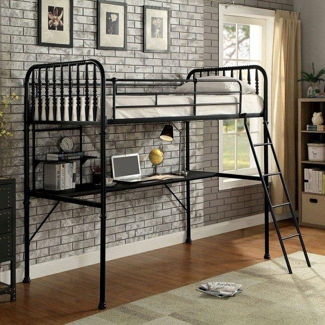 Ebony Workstation Loft Bed (Black)