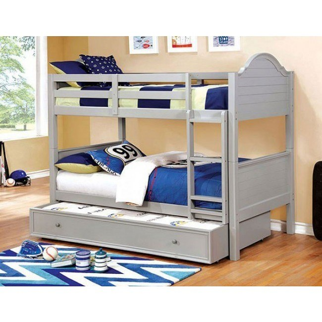Denise Twin over Twin Bunk Bed w/ Trundle (Gray)