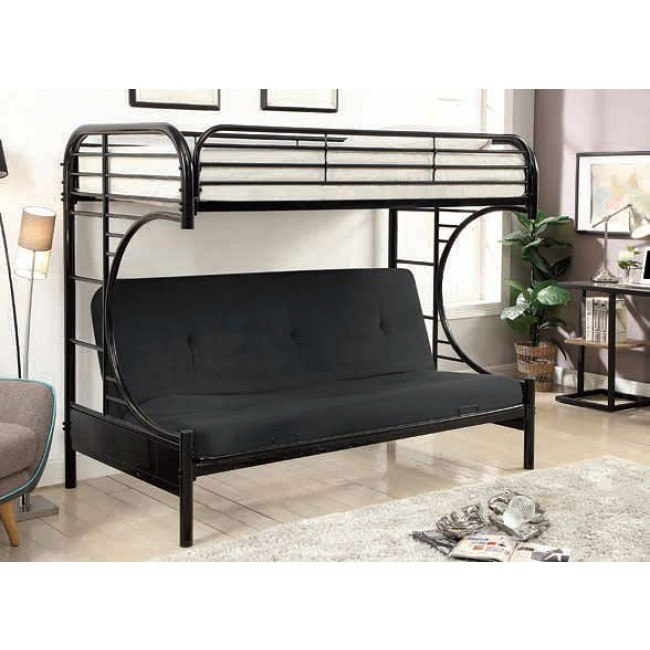 Alanna Metal Bunk Bed W Futon Base Black Kids And Youth