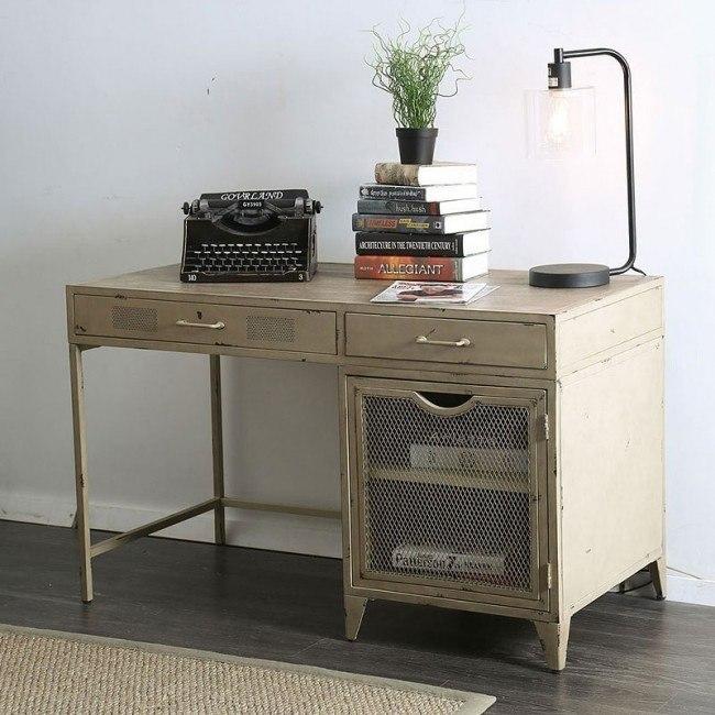 Haldus Metal Desk (Distressed Ivory)