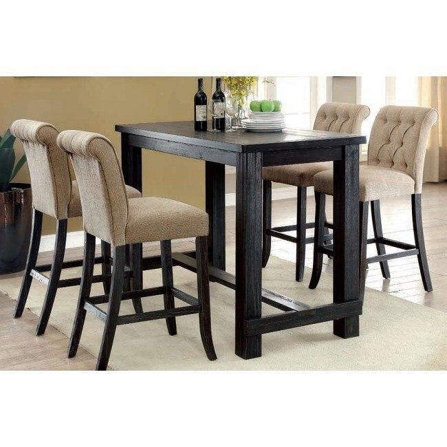 Sania III Bar Table Set w/ Beige Barstools