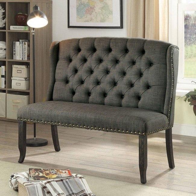 Sania III 2-Seater Loveseat Bench (Gray)