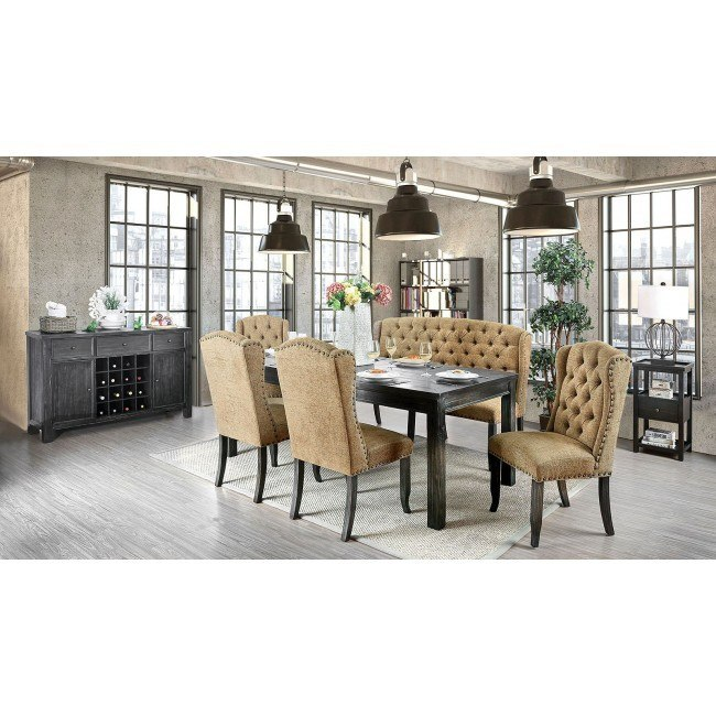 Sania Iii 84 Inch Dining Room Set W Gold Wingback Chairs