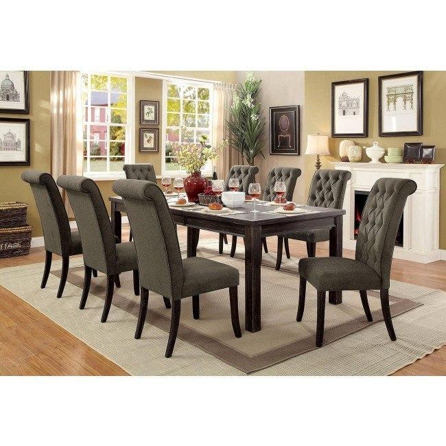 Sania III 84-Inch Dining Room Set w/ Gray Chairs