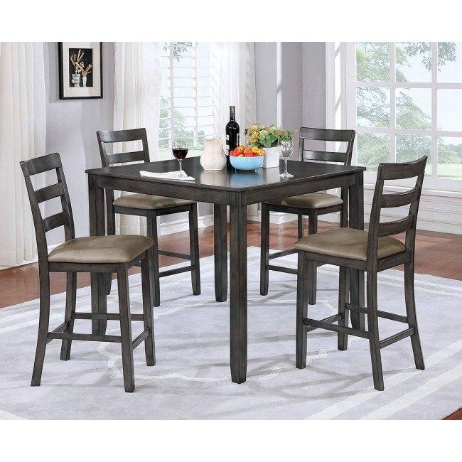 Gloria 5-Piece Counter Height Dining Set (Gray)