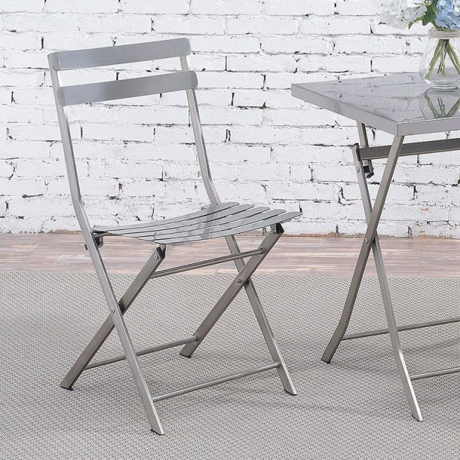 Brilliant Lilah Stainless Folding Chair Set Of 2 Creativecarmelina Interior Chair Design Creativecarmelinacom