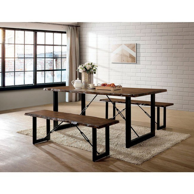 Dulce Dining Room Set w/ Two Benches