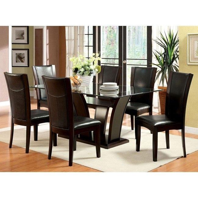 Wondrous Manhattan I Dark Cherry Dining Set W Brown Chairs Download Free Architecture Designs Rallybritishbridgeorg