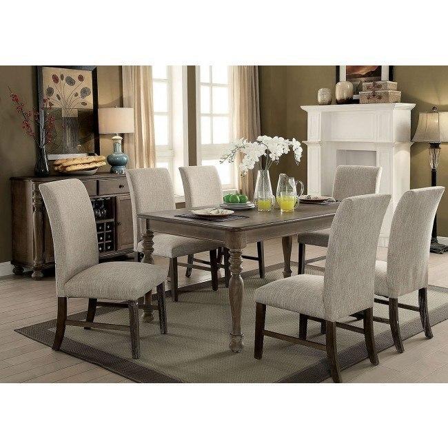 Siobhan II Dining Room Set (Rustic Oak / Beige)
