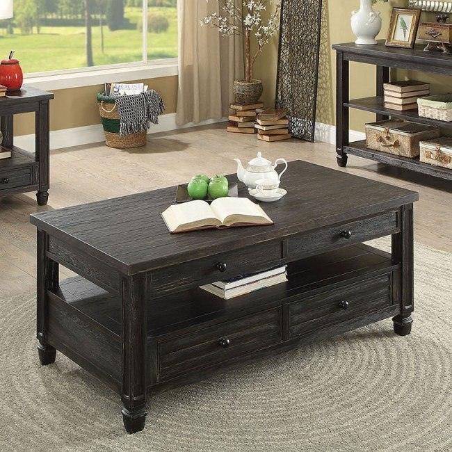 Lift Top Coffee Table Antique Black