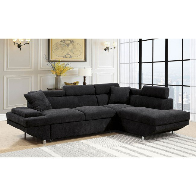 Foreman Right Chaise Sectional w/ Pull-Out Bed (Black)