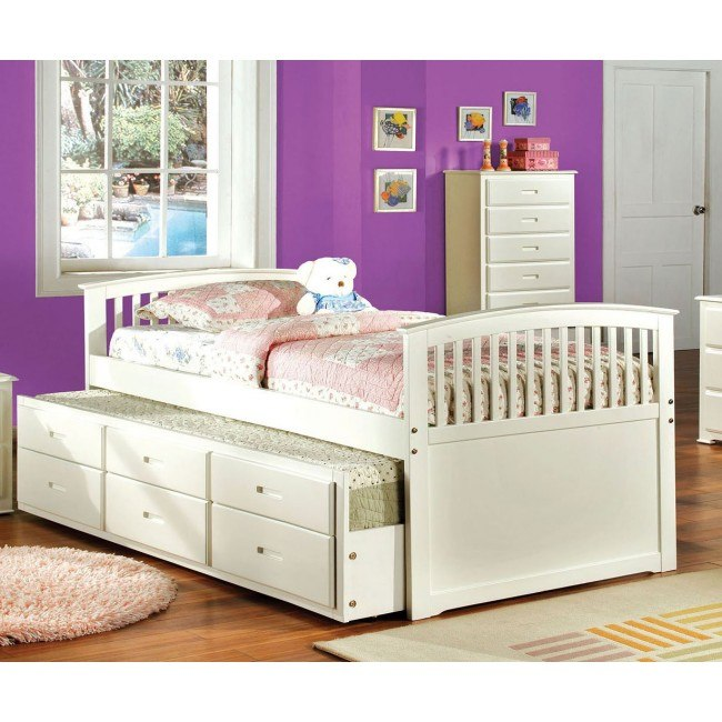 Bella Captain Bed w/ Trundle (White)